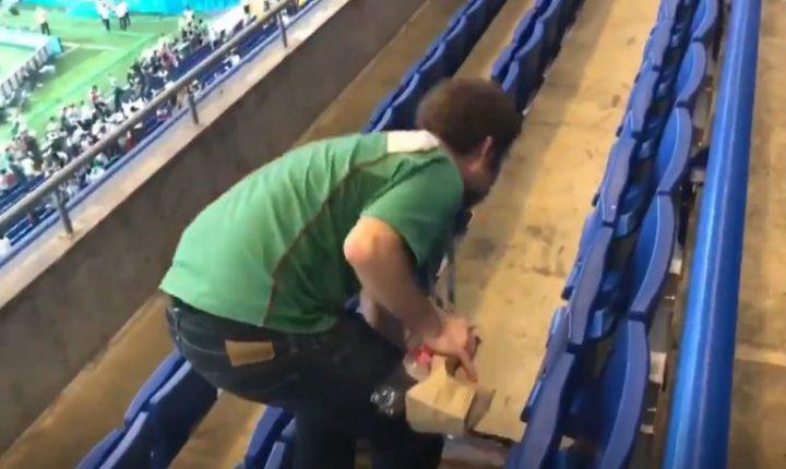 Afición mexicana recoge basura en estadio de Rusia